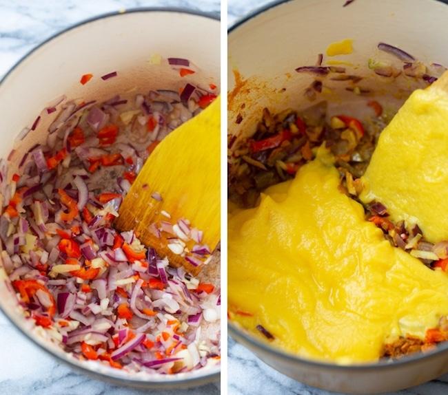 thai pumpkin soup collage