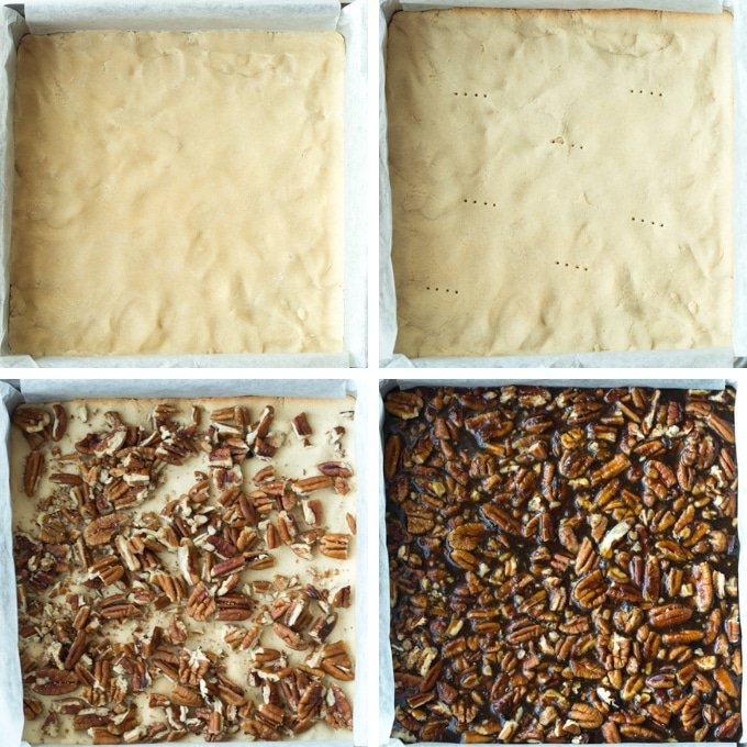vegan pecan pie bars collage
