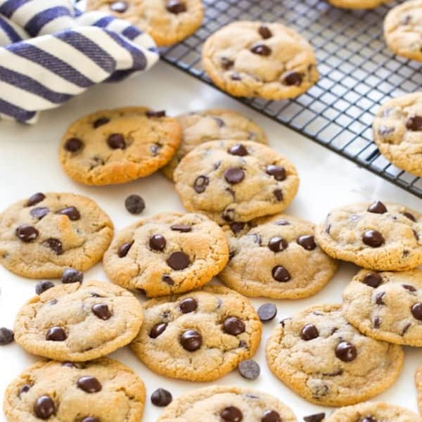 Almond Flour Chocolate Chip Cookies cookies piled