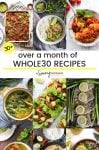 over a month of whole30 recipes pin graphic