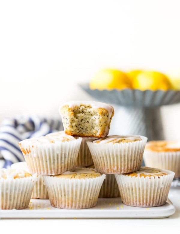 Paleo Vegan Lemon Poppy Seed Muffins stack