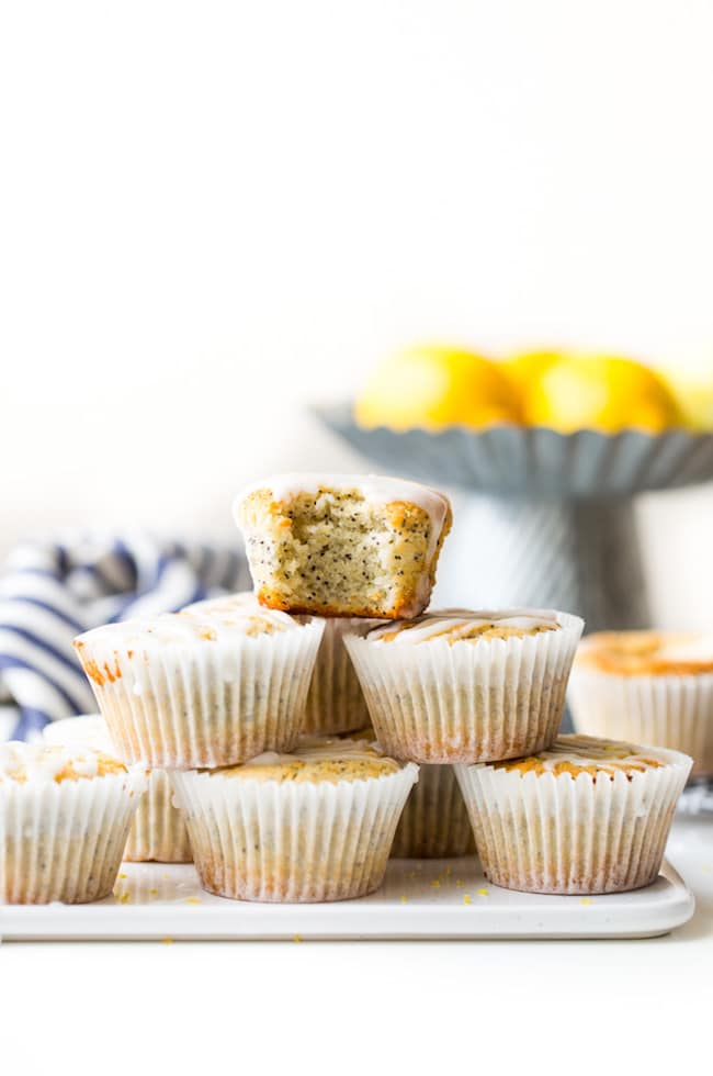 Paleo Vegan Lemon Poppy Seed Muffins stack