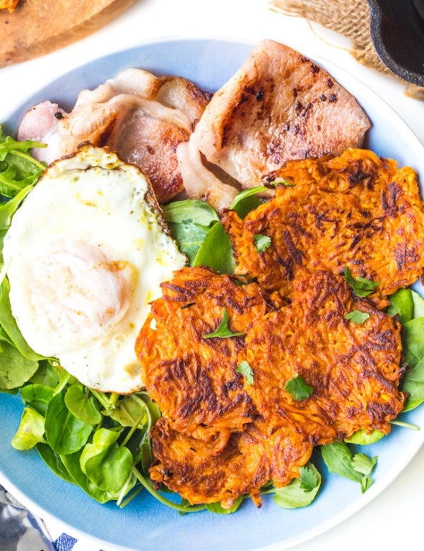 Sweet Potato Hash Browns in a bowl with bacon eggs and salad