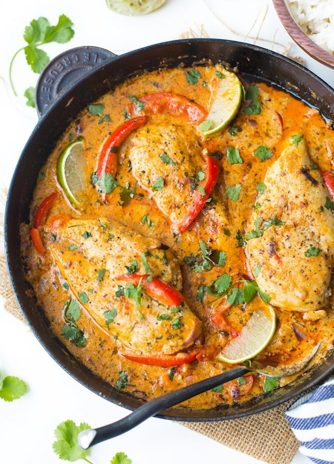 Thai Red Coconut Chicken in a cast iron skillet