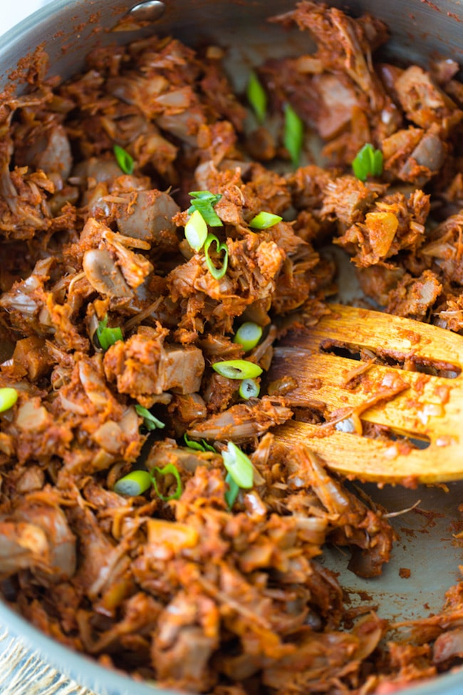 Whole30 BBQ Jackfruit topped with green onions