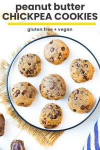 peanut butter chickpea cookies pin graphic