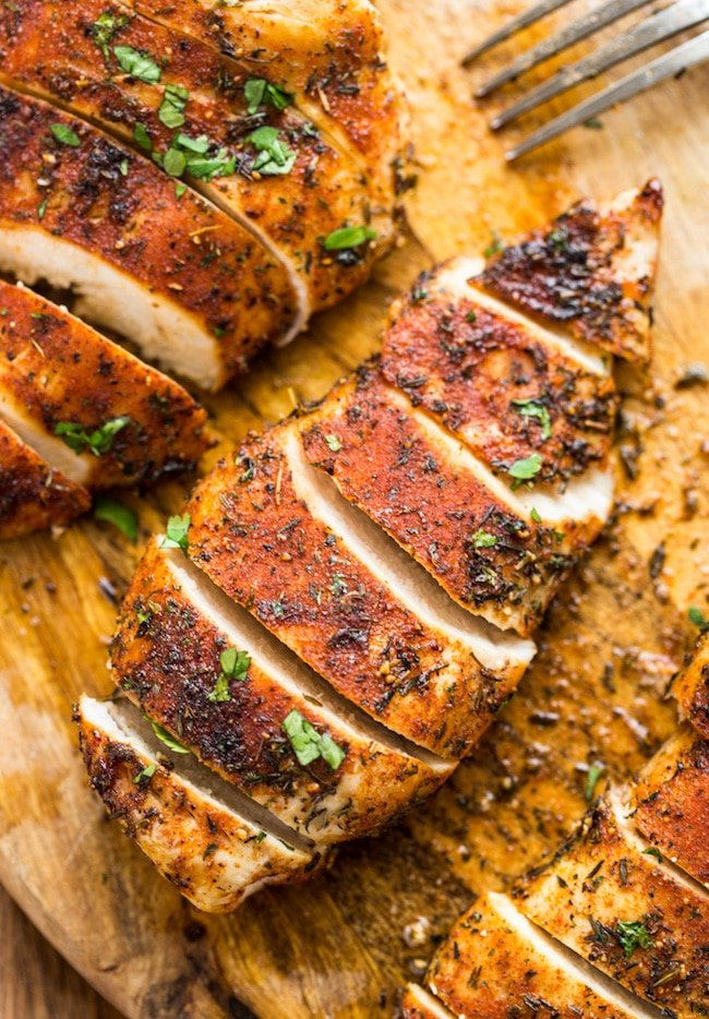 sliced baked chicken breast