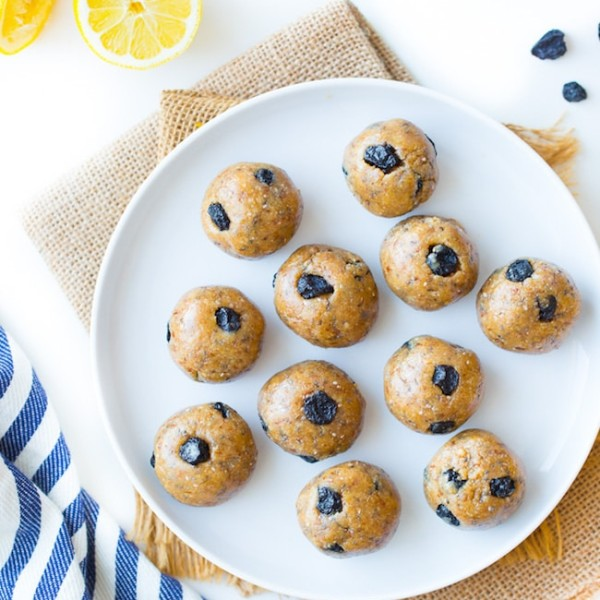 Blueberry Paleo Energy Balls on a plate