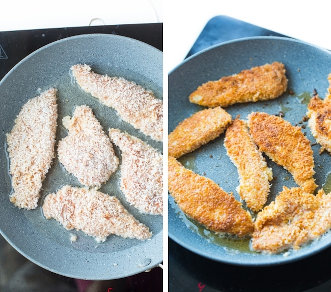 frying Coconut Crusted Chicken Tenders collage