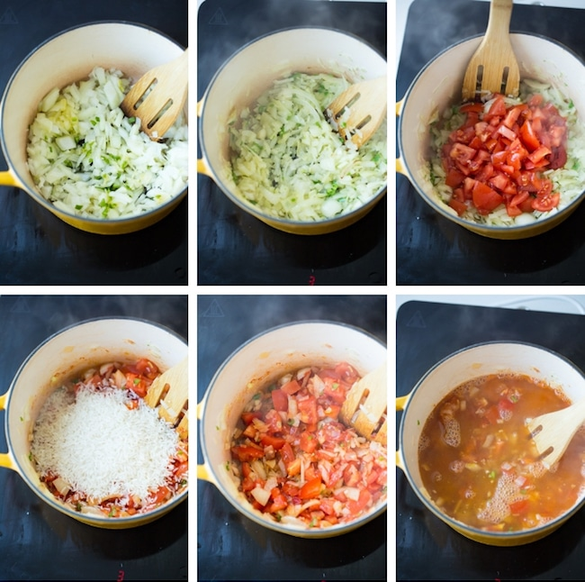 mexican red rice collage