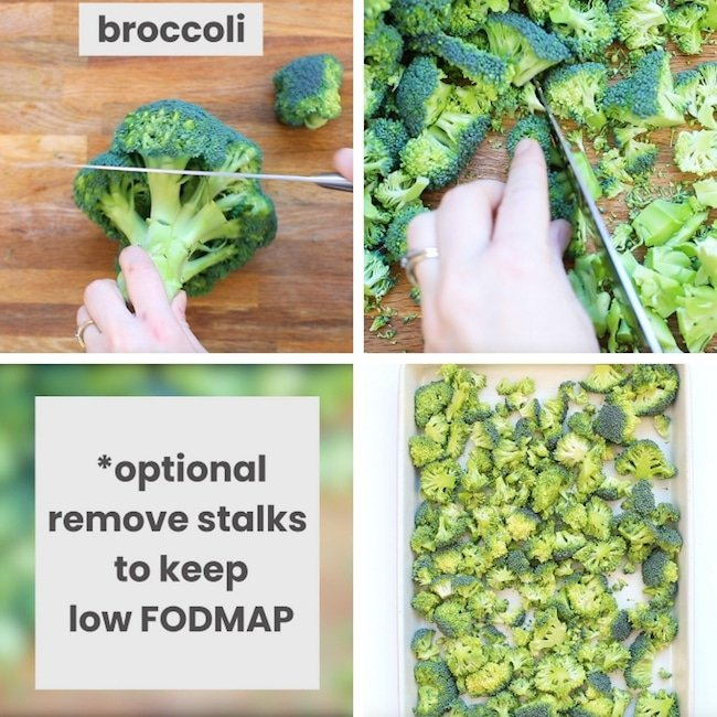 roasted broccoli salad collage: broccoli prep