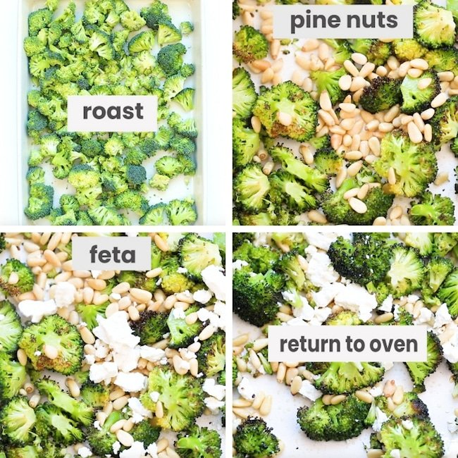 roasted broccoli salad collage