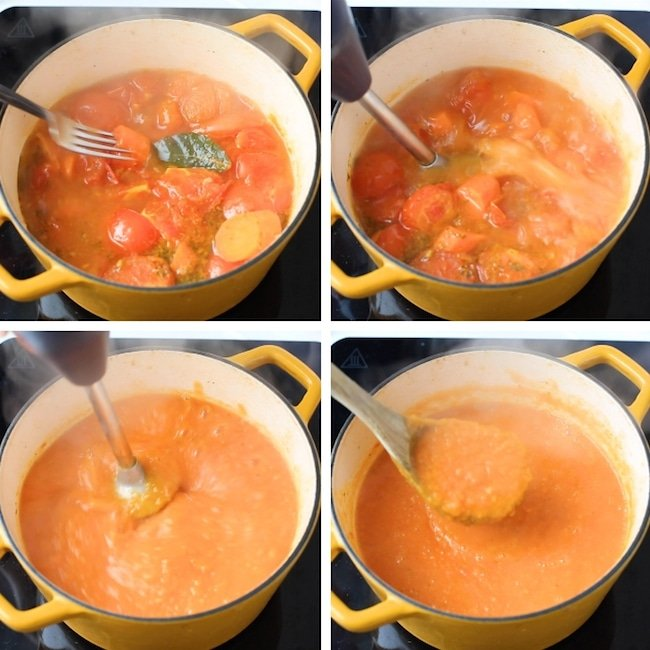 tomato-carrot-soup blending collage