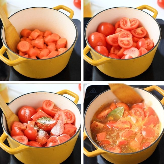 tomato-carrot-soup collage