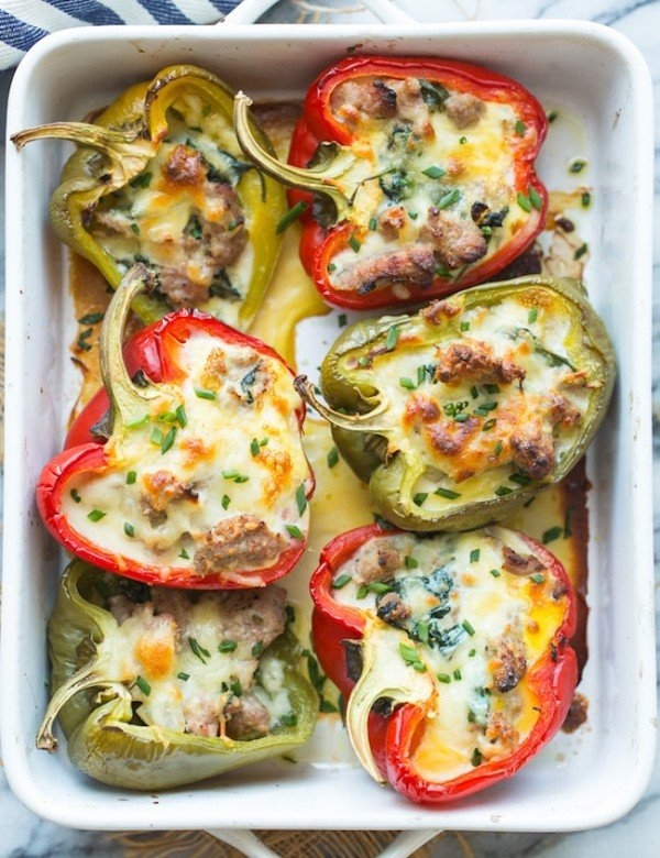 Breakfast Stuffed Bell Peppers in a casserole dish
