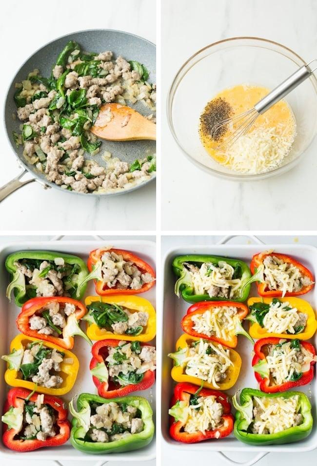 Breakfast Stuffed Bell Peppers collage