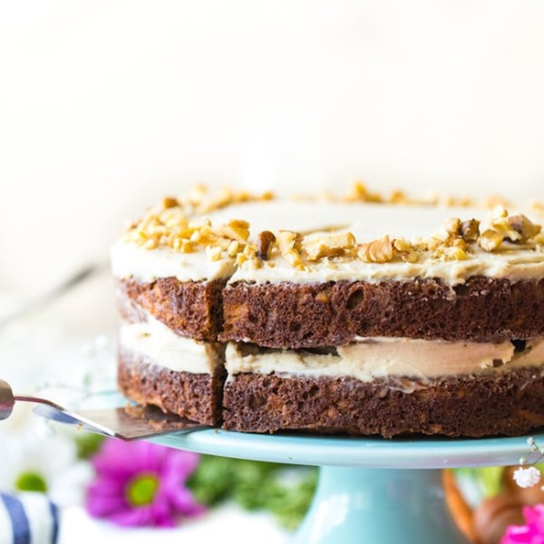 paleo carrot cake on a cake stand