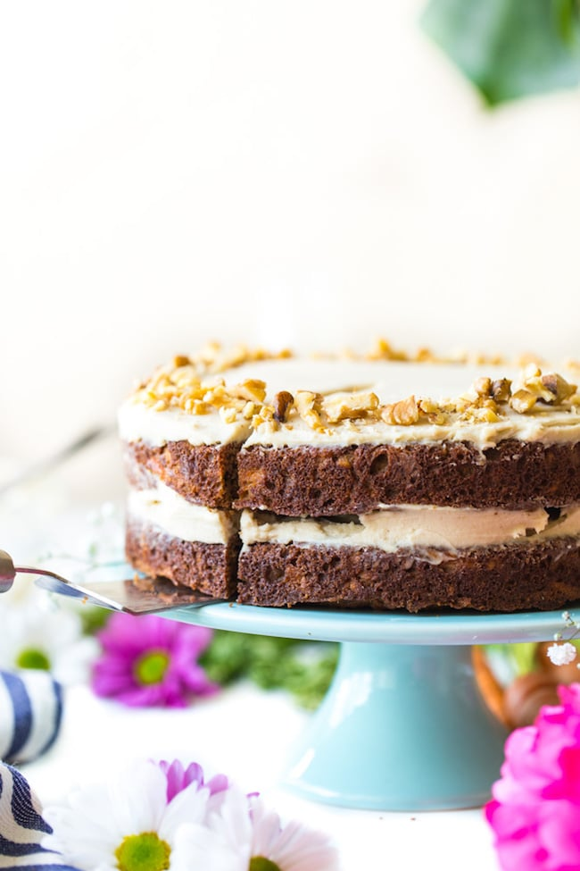 paleo carrot cake on a cake stand
