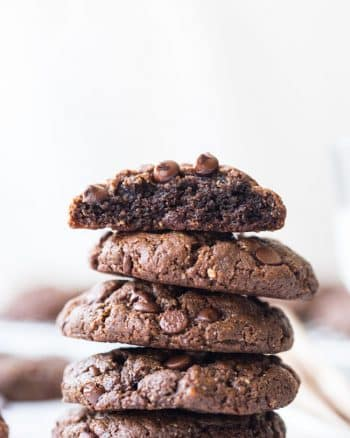 stack of Flourless Chocolate Peanut Butter Cookies