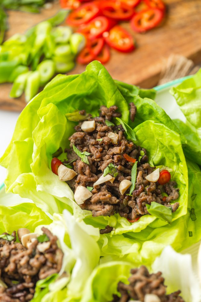spicy beef lettuce wraps up close