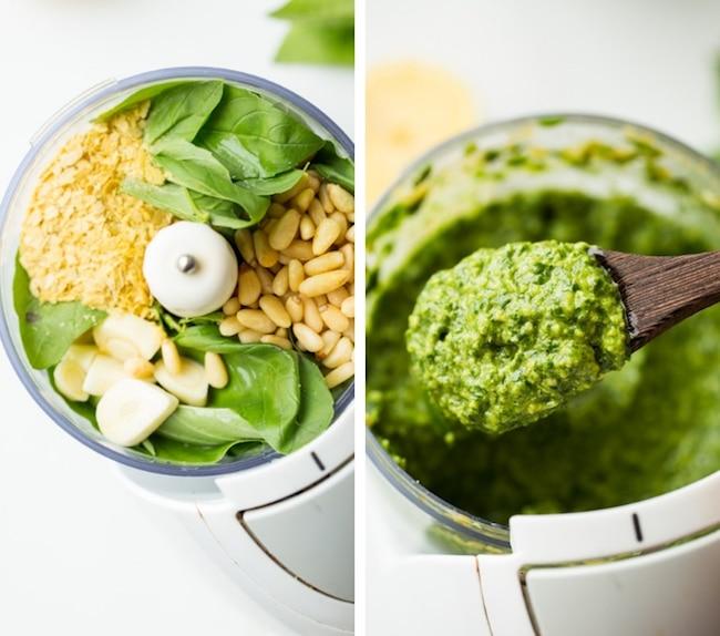 chicken pesto salad - pesto ingredient collage
