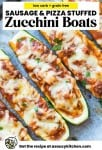 sausage and pizza stuffed zucchini boats pin graphic