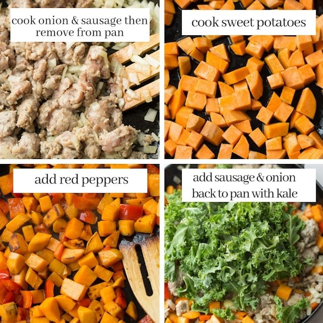 Sausage Kale Sweet Potato Hash pin graphic