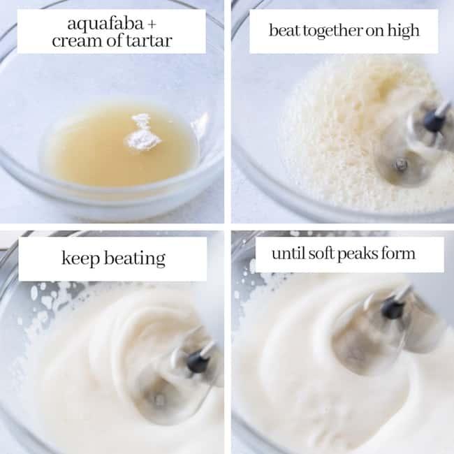Aquafaba Vegan Meringue collage stage 1