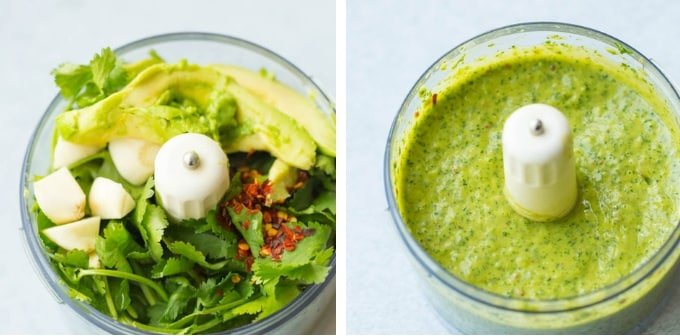 cilantro lime dressing collage