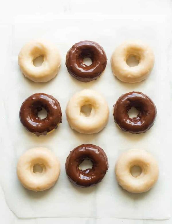 chocolate and vanilla gluten free donuts