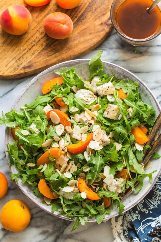 Almond & Apricot Chicken Salad in a bowl after it's mixed together