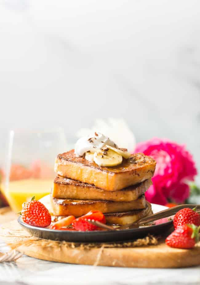 Gluten Free French Toast with Strawberries & Bananas