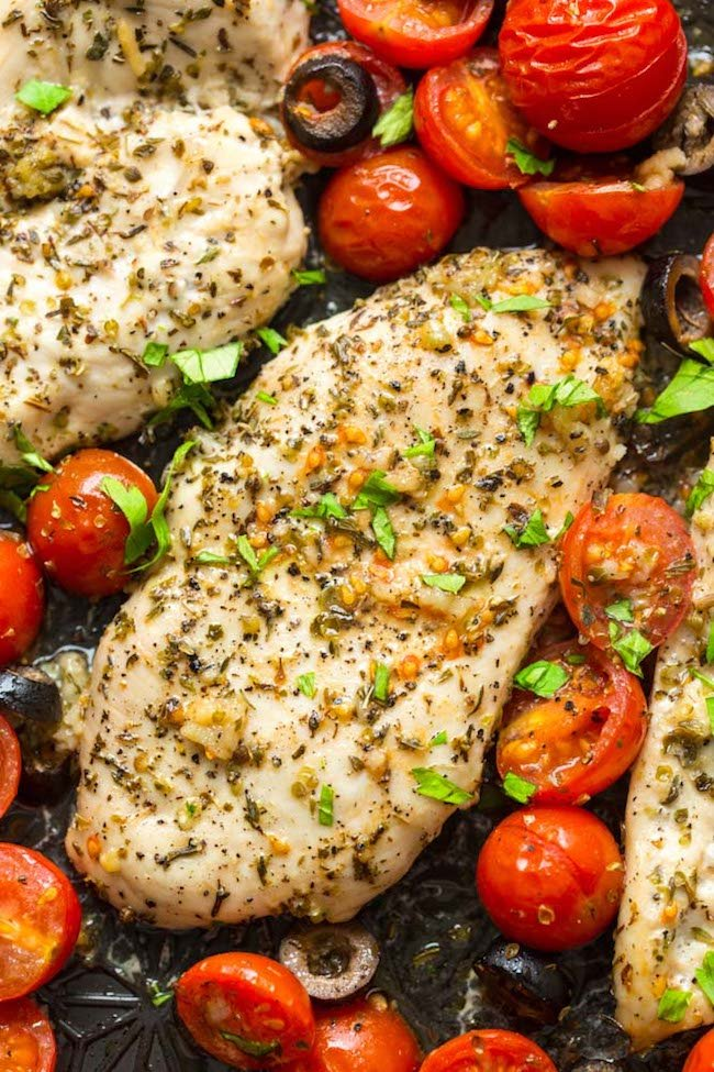 Baked Italian Chicken with Cherry Tomatoes up close