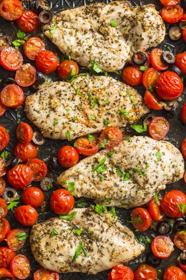 Baked Italian Chicken with Cherry Tomatoes