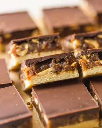 vegan snickers slice stacked