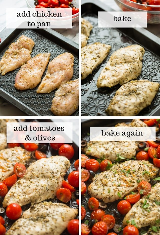 making of: Italian Chicken with Cherry Tomatoes collage