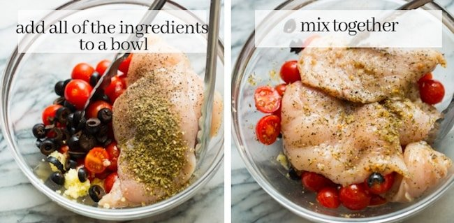 Baked Italian Chicken with Cherry Tomatoes collage - chicken breast prep