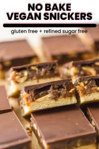 No Bake Vegan Snicker Bars - A Saucy Kitchen