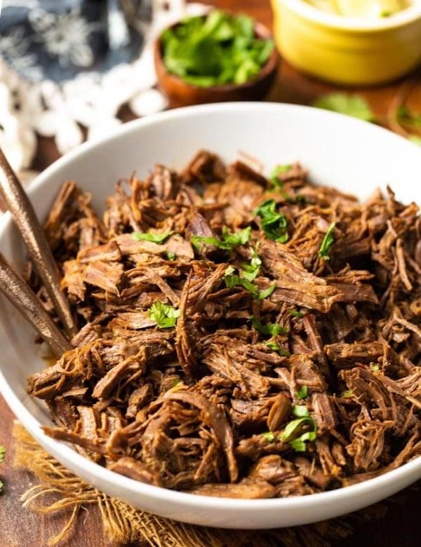beef instant pot carnitas in bowl
