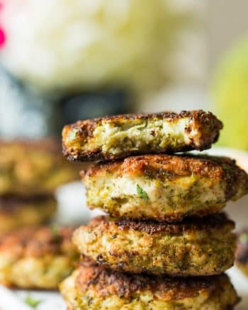 Chicken Broccoli Fritters stack