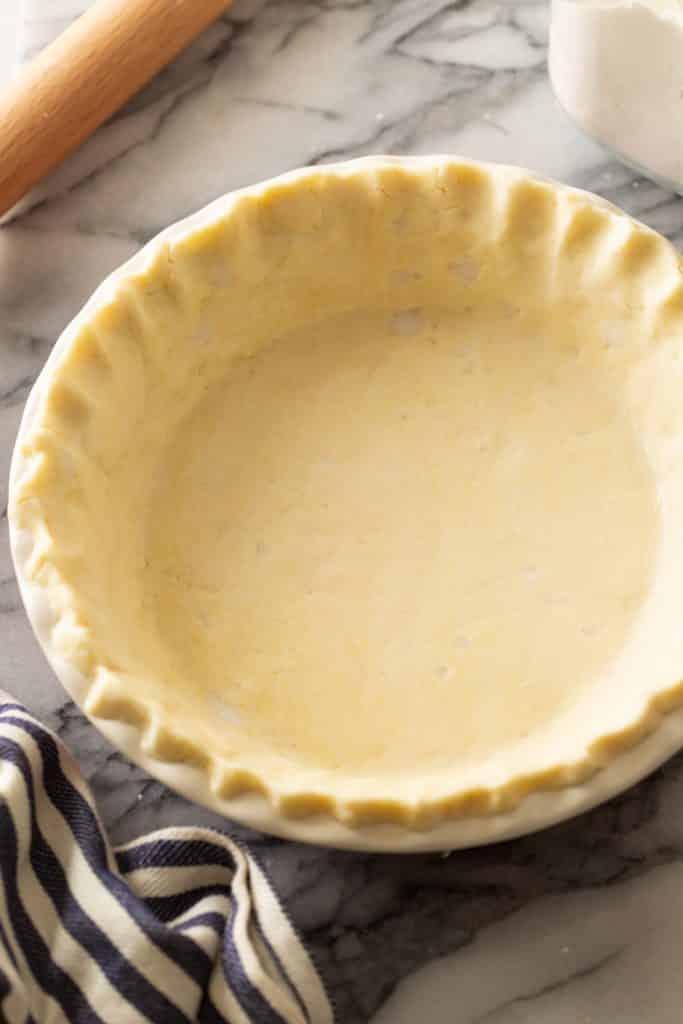 gluten free pie crust in a pie dish