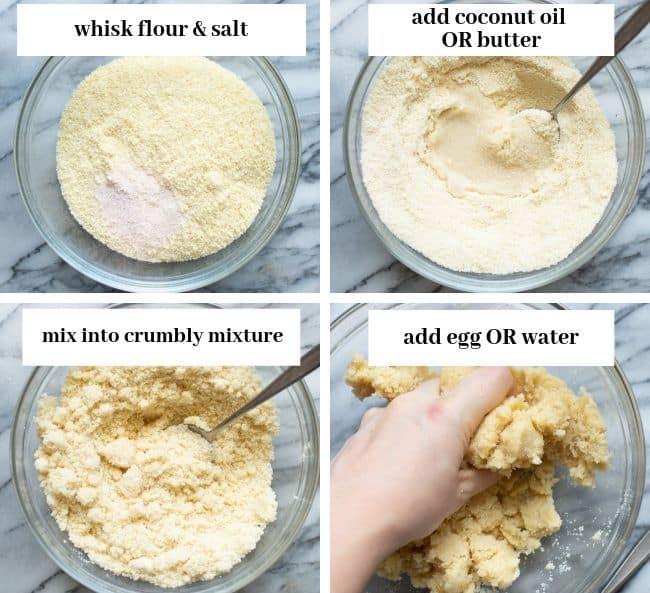 almond flour pie crust dough collage 1