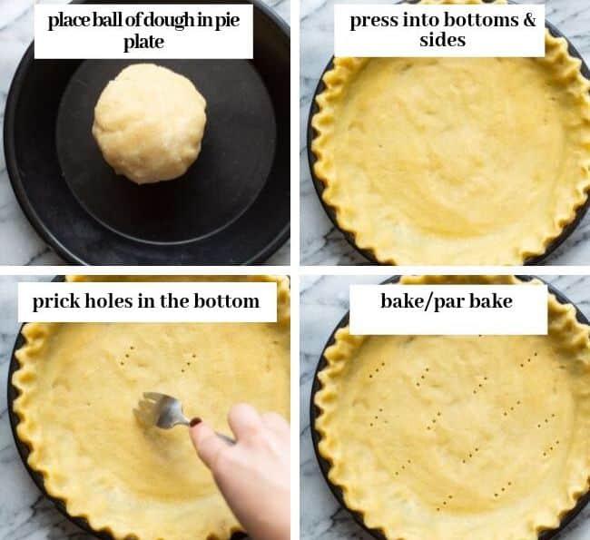 almond flour pie dough collage in pie plate