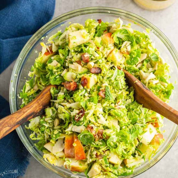 Shaved Brussels Sprout & Apple Salad- in a bowl