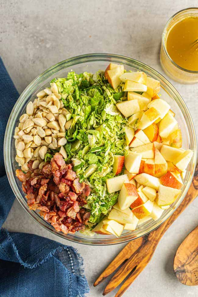 Shaved Brussels Sprouts Salad with Apples & Honey Mustard Vinaigrette pre mixed