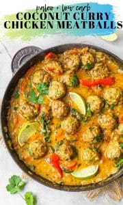 coconut curry chicken meatballs pin graphic