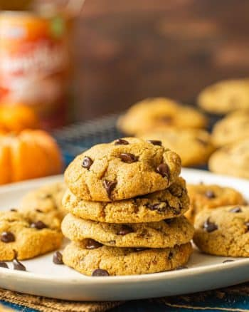 Chocolate Chip Pumpkin Cookies with Almond Flour stacked on a plate