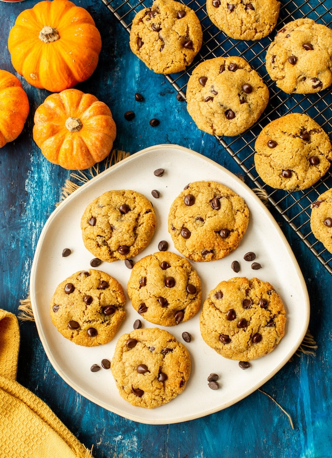 Chocolate Chip Pumpkin Cookies with Almond Flour on a plate