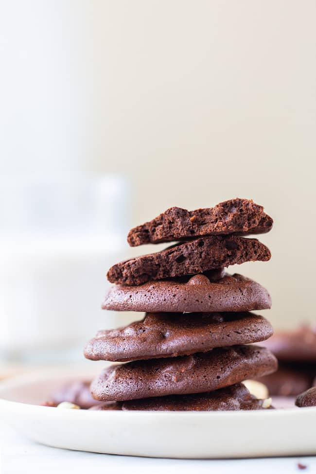 Chocolate Hazelnut Cloud Cookies stack