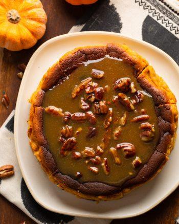 basque pumpkin cheesecake on a plate